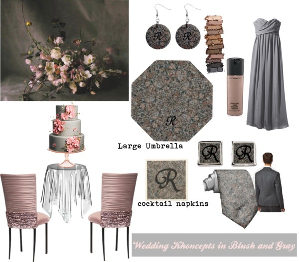 elegant smokey wedding colors of blush and gray